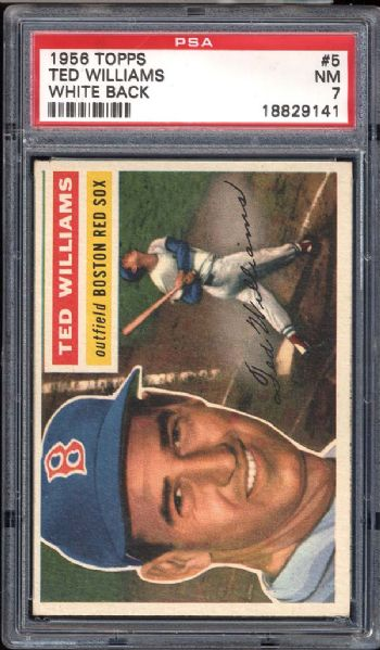 1956 Topps #5 Ted Williams White Back PSA 7 NM