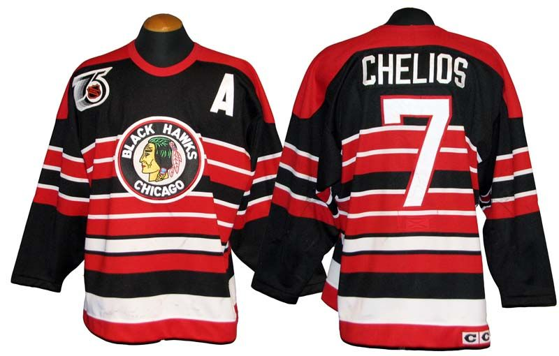 619bcce76 1991-92 Chris Chelios Chicago Blackhawks Game-Used Jersey with Team LOA ...