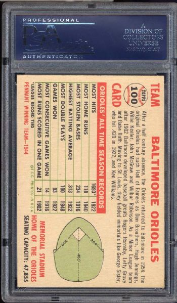 1956 Topps #100 Orioles Team With Date-White Back PSA 7 NM