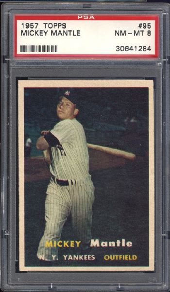 1957 Topps #95 Mickey Mantle PSA 8 NM/MT
