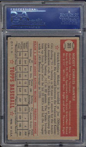 1952 Topps #311 Mickey Mantle PSA 5 EX