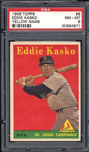 1958 Topps #8 Eddie Kasko Yellow Name PSA 8 NM/MT