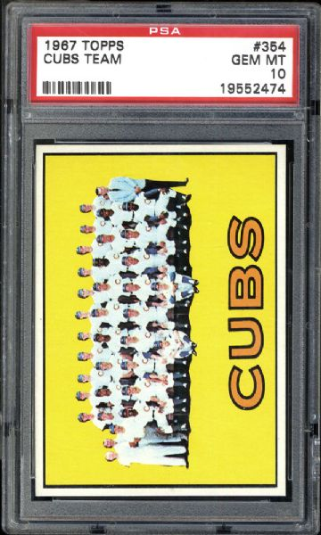 1967 Topps #354 Cubs Team PSA 10 GEM MINT