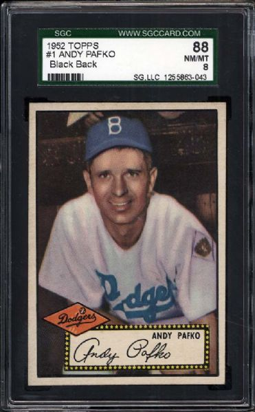 1952 Topps #1 Andy Pafko SGC 88 NM/MT 8