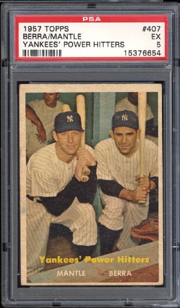 1957 Topps #407 Yankees Power Hitters Berra/Mantle PSA 5 EX