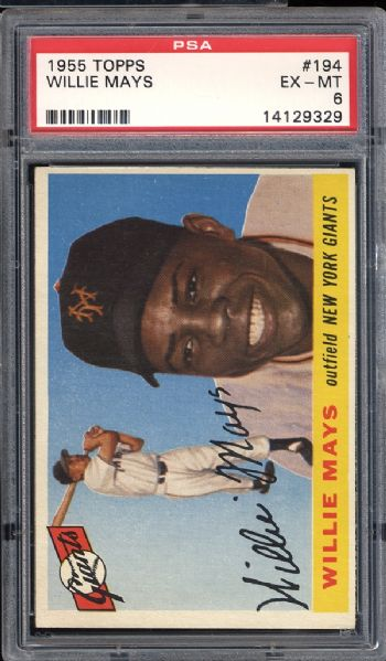 1955 Topps #194 Willie Mays PSA 6 EX/MT