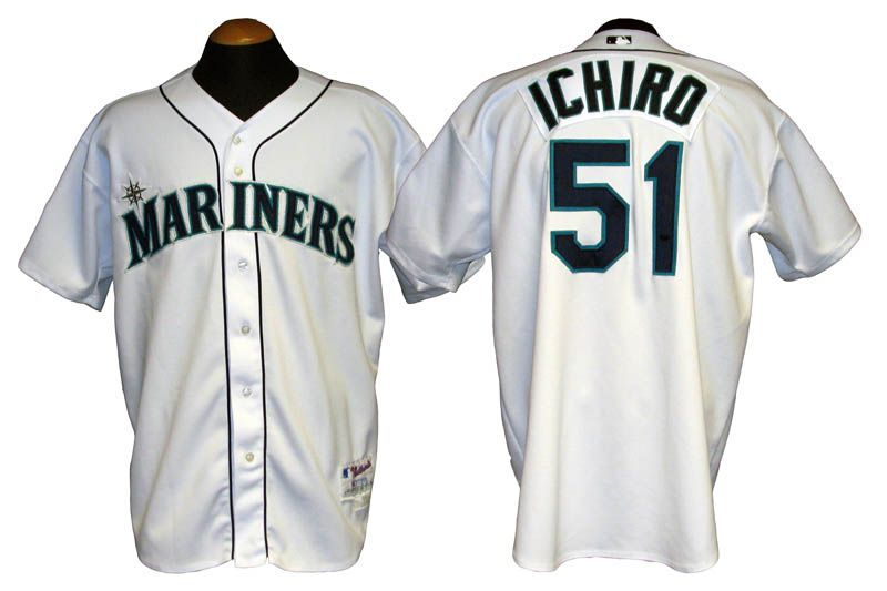 d48b7a635 Lot Detail - 2001 Ichiro Seattle Mariners Game-Used Rookie Season Jersey