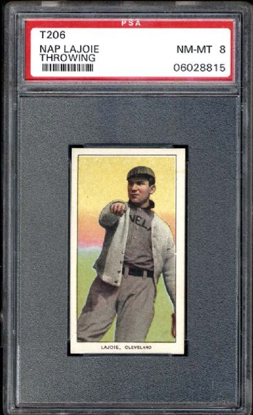 1909-11 T206 Nap Lajoie Throwing PSA 8 NM/MT