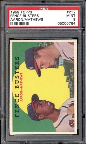 1959 Topps #212 Aaron/Mathews PSA 9 MINT