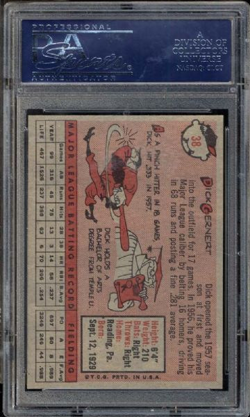 1958 Topps #38 Dick Gernert PSA 9 MINT