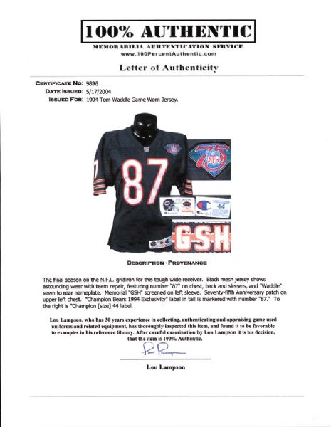 the best attitude c3b29 8282e Lot Detail - 1994 Tom Waddle Chicago Bears Game-Used Jersey