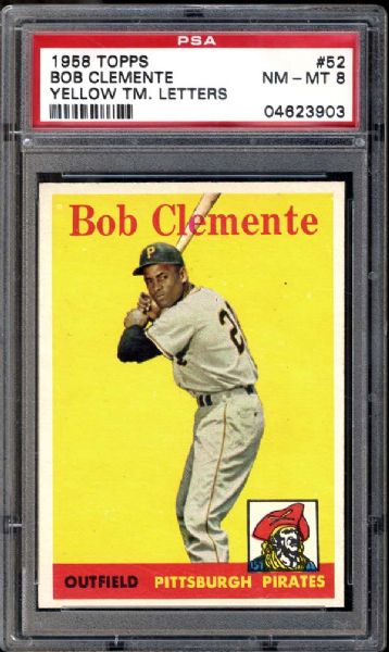 1958 Topps #52 Bob Clemente Yellow Letters PSA 8 NM/MT
