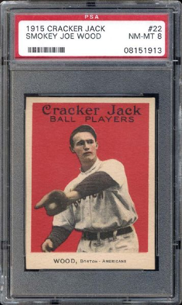 1915 Cracker Jack #22 Smokey Joe Wood PSA 8 NM/MT