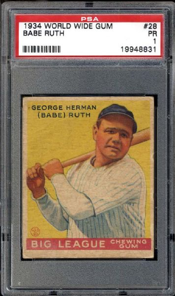 1934 World Wide Gum #28 Babe Ruth PSA 1 POOR