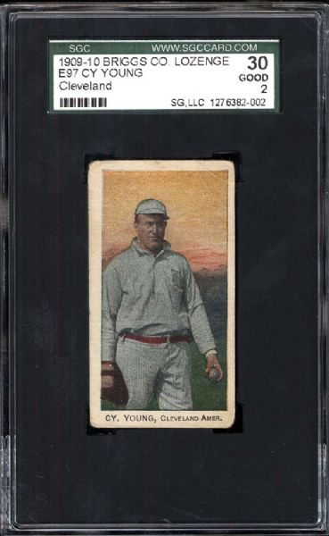 1909-10 Briggs E97 Cy Young (Cleveland)  SGC 30 GOOD 2