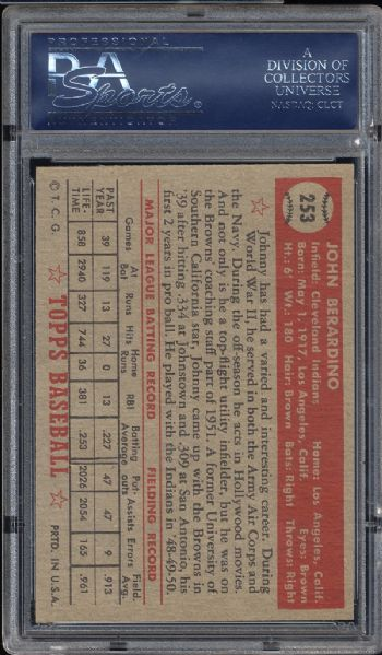 1952 Topps #253 Johnny Berardino PSA 6 EX/MT