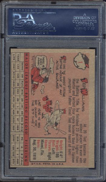 1958 Topps #1 Ted Williams PSA 8(OC) NM/MT