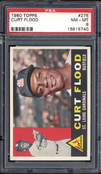 1960 Topps #275 Curt Flood PSA 8 NM/MT