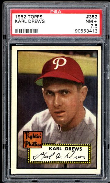 1952 Topps #352 Karl Drews PSA 7.5 NM+