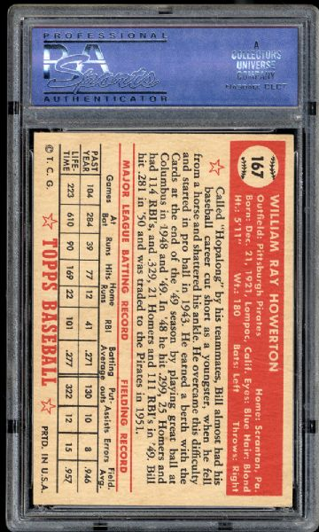 1952 Topps #167 Bill Howerton PSA 7 NM