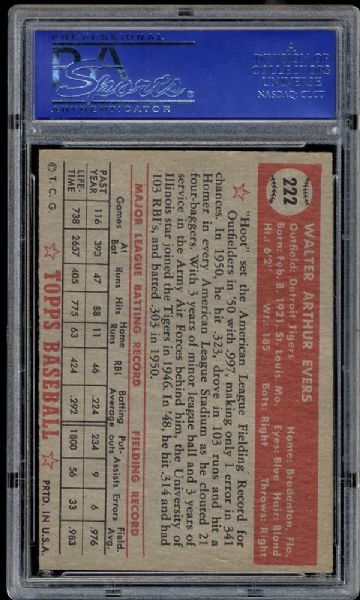 1952 Topps #222 Hoot Evers PSA 7 NM