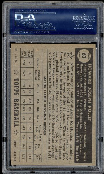 1952 Topps #63 Howie Pollet PSA 6.5 EX/MT+