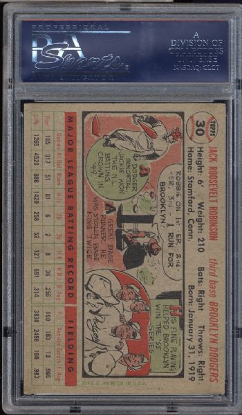 1956 Topps #30 Jackie Robinson Gray Back PSA 8 NM/MT