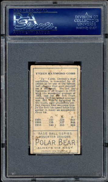 1911 T205 Gold Border Ty Cobb PSA 2.5 GOOD+