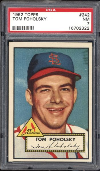 1952 Topps #242 Tom Poholsky PSA 7 NM
