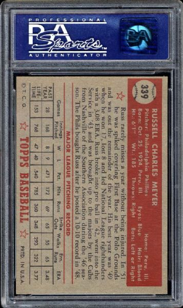 1952 Topps #339 Russ Meyer PSA 8 NM/MT