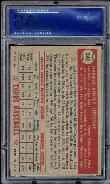 1952 Topps #341 Hal Jeffcoat PSA 8 NM/MT