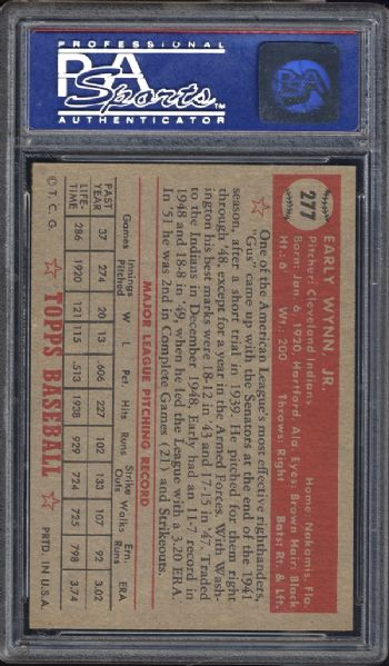 1952 Topps #277 Early Wynn PSA 8 NM/MT