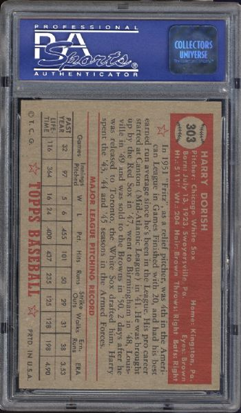 1952 Topps #303 Harry Dorish PSA 8 NM/MT