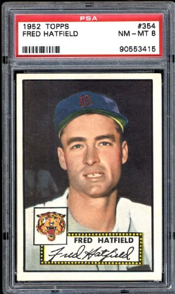 1952 Topps #354 Fred Hatfield PSA 8 NM/MT