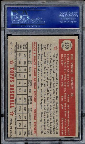 1952 Topps #359 Dee Fondy PSA 8.5 NM/MT+