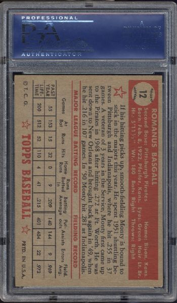 1952 Topps #12 Monty Basgall Red Back PSA 6 EX/MT
