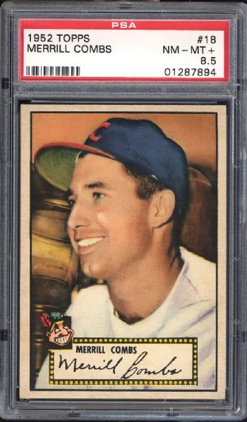 1952 Topps #18 Merrill Combs Red Back PSA 8.5 NM/MT+