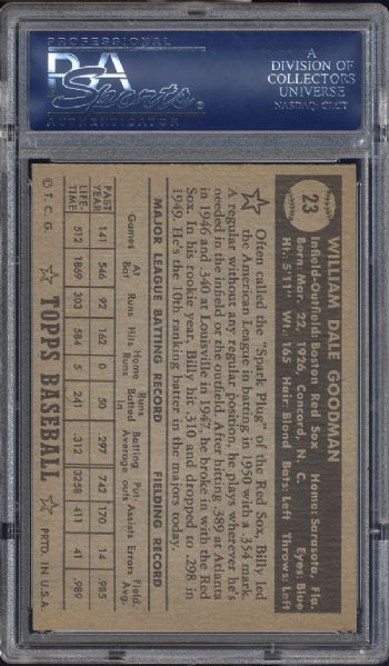 1952 Topps #23 Billy Goodman Black Back PSA 7.5 NM+