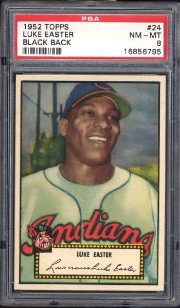 1952 Topps #24 Luke Easter Black Back PSA 8 NM/MT