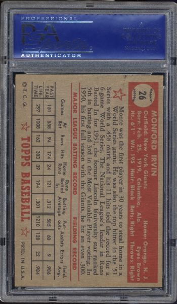 1952 Topps #26 Monte Irvin Red Back PSA 7 NM