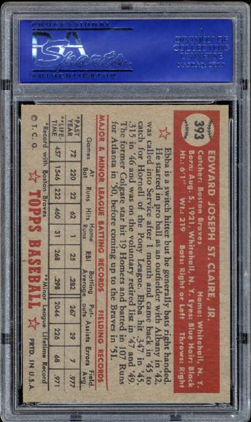 1952 Topps #393 Ebba St. Claire PSA 7 NM