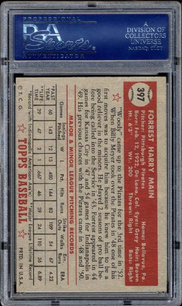 1952 Topps #397 Forrest Main PSA 8.5 NM/MT+