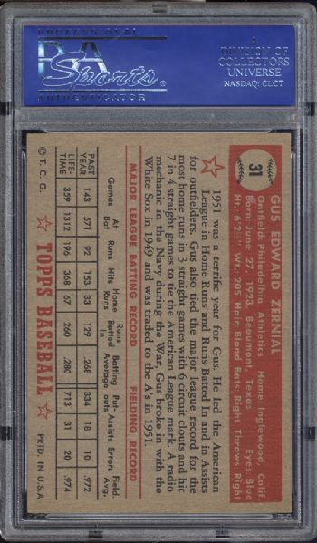 1952 Topps #31 Gus Zernial Red Back PSA 6 EX/MT