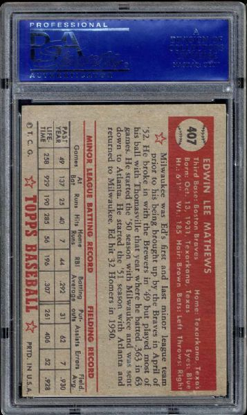 1952 Topps #407 Ed Mathews PSA 7 NM