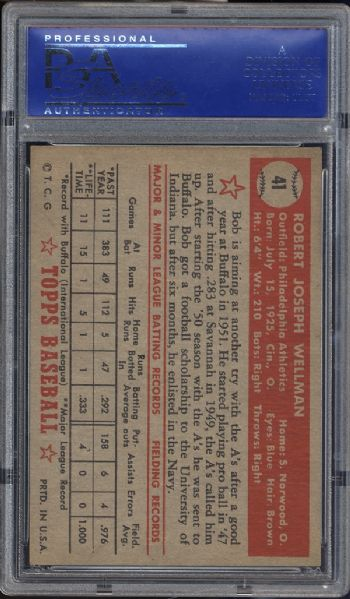 1952 Topps #41 Bob Wellman Red Back PSA 7 NM