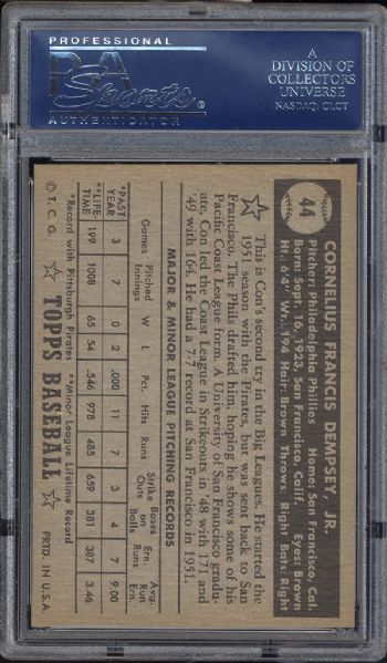 1952 Topps #44 Con Dempsey Black Back PSA 8 NM/MT