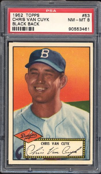 1952 Topps #53 Chris Van Cuyk Black Back PSA 8 NM/MT