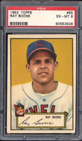 1952 Topps #55 Ray Boone Red Back PSA 6 EX/MT