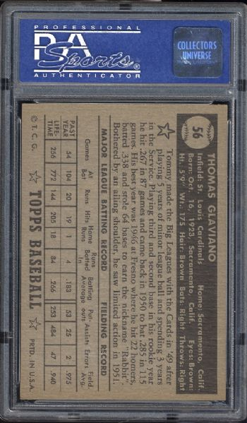 1952 Topps #56 Tommy Glaviano Black Back PSA 8 NM/MT