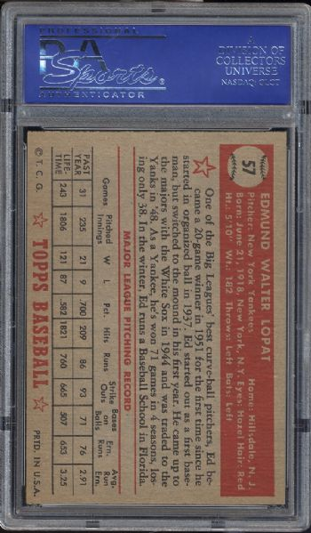 1952 Topps #57 Ed Lopat Red Back PSA 7 NM